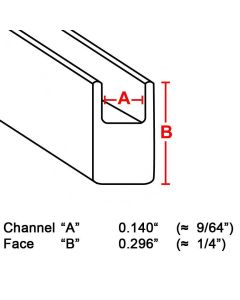 "Flat U Zinc Channel, 1/4"", 6' strip (ZB-932) Box (22 lb)"
