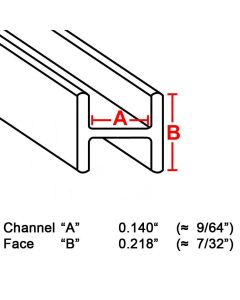 "Flat H Zinc Channel, 7/32"", 6' strip (ZH-732) Box (22 lb)"