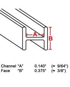 "Flat H Zinc Channel, 3/8"", 6' strip (ZH-375) Box (22 lb)"