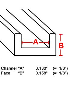 "Flat U Brass Channel, 1/8"", 6' strip (BU-130) Box (22 lb)"