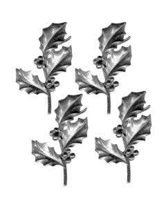Holly Leaf Hand Cast Sculpture, pack/4