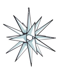 Clear 3-D Open Center Star Bevel Cluster, 18 Point, 8-1/4""