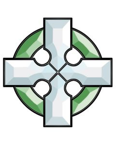 Green & Clear Celtic Cross Bevel Cluster
