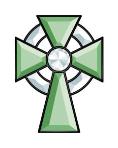 Green & Clear Jeweled Celtic Cross Bevel Cluster