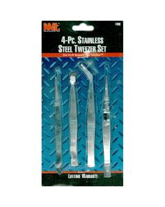 Stainless Steel Tweezers, 4 piece