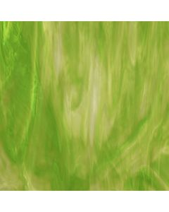 Wissmach Apple Green, White & Clear Wispy Glass